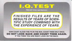 Living Waters IQ Test - Front of Card