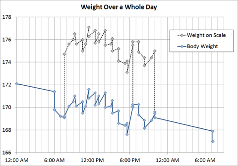 Weight Over a Whole Day (Includes uncorrected scale weights)