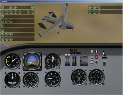 X-Plane Screenshot: External View with Cockpit and with Data Being Displayed Real Time